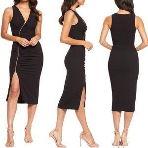 Dress the population zipper v neck midi dress